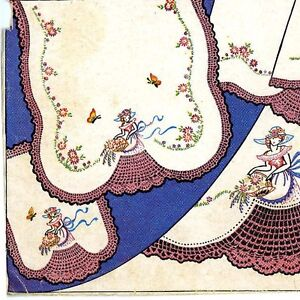Vintage-Embroidery-192-Crinoline-Lady-w-crochet-skirt-for-Pillow-Case-Vanity-Set