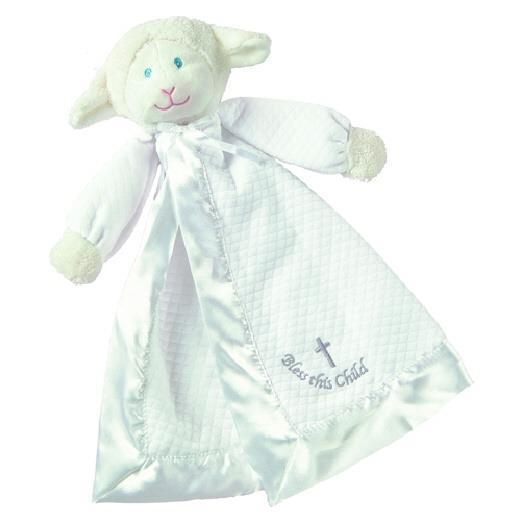 Baby Infant Christening Baptism Gift-Lamb Cross God Bless Lovey/Security Blanket
