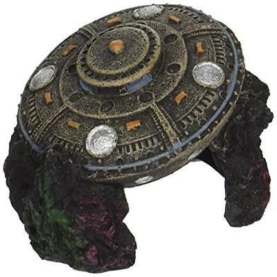 New Fish Tank Decoration Decor Ufo With Cave Aquarium Ornament Spaceship Pet Blu