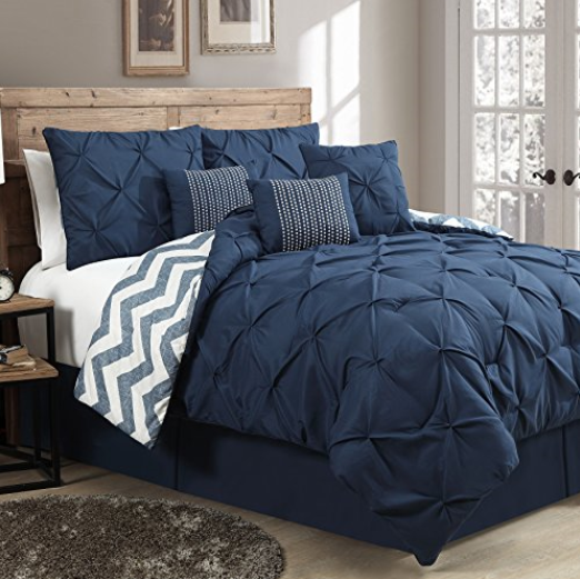 Avondale Manor Pinch Pleat Reversible 7 Piece Comforter Set