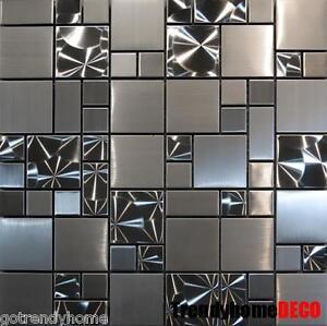 SAMPLE- Unique Stainless Steel Pattern Mosaic Tile Kitchen Backsplash Bath wall