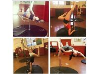 Pole fitness classes - Danse Vivante. Any level welcome from beginners to advanced.