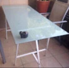 Pair Metal Trestle legs & Glass Table Custom made 10mm Roselands Canterbury Area Preview