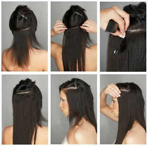 100% Human Hair 7pc 18 inch clip on hair extensions Belleville Belleville Area image 1