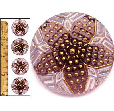 22mm Vintage Czech Glass PURPLE Nailhead Gold Polka Dot QUILT STAR Buttons 4pc (Gold Polka Dot Glasses)
