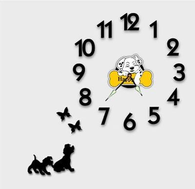 Modern DIY Wall Clock 3D Number Sticker Home Decor Interior - Dog&Butterfly