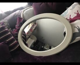 Cream oval mirror