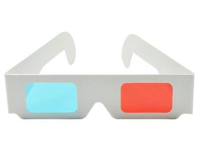 ASVP Shop® 3D Glasses Made from White Card with Red and Cyan Lenses (Pack of 4)