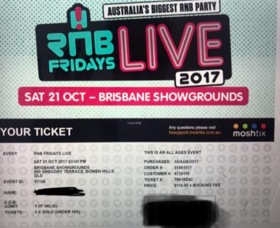 R N B Friday Live Tickets x 2 Gold U18