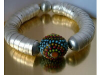 silver and murano glass bracelet