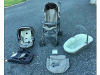 Mama and Papas Pilko Travel System Combination Pushchair, Carseat, Base and Carrycot