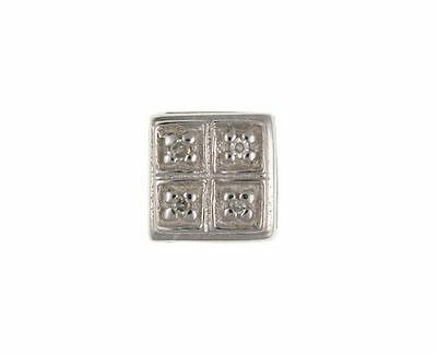 Gents Mens Sterling Silver Real Diamond Stud Earring - British Made - Hallmarked