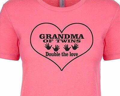 GRANDMA OF TWINS Double Trouble Mama Daddy Love Baby Two Women's Fitted T-Shirt Dad Womens Fitted T-shirt