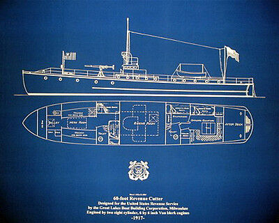 Vintage Coast Guard Cutter 1917 Print Ships Plan Blueprint Drawing 23x27 (028)
