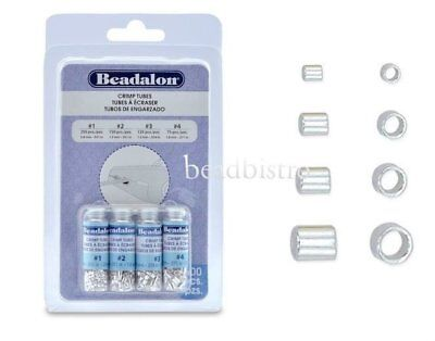 Beadalon SILVER Plated Crimp Tubes Variety Pack, Size 1, 2, 3, 4, (600 PCS)