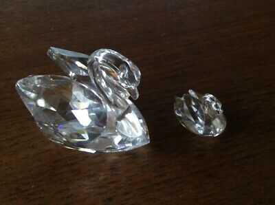 Swarovski Large & small Swan Soulmate Collection Clear Crystal Figurine set of 2