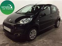 £101.51 PER MONTH BLACK 2012 PEUGEOT 107 1.0 ACTIVE 5 DOOR MANUAL PETROL.