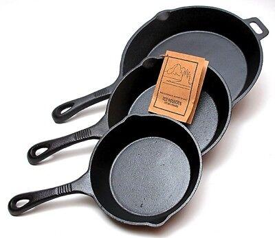 Old Mountain Cast Iron 3 pc  Skillet Set  Pre-Seasoned Cookware #10100 Old Mountain Cast Iron Skillet