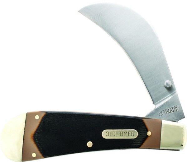 Schrade Old Timer Liner Lock Hawkbill Pruner Pocket Knife