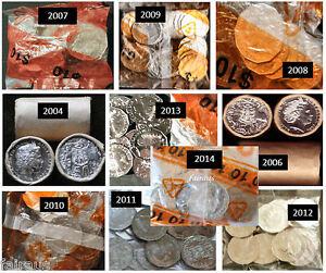 10 Unc COA 50c 2004 2006 2007 2008 2009 2010 2011 2012 2013 2014 ex roll bag