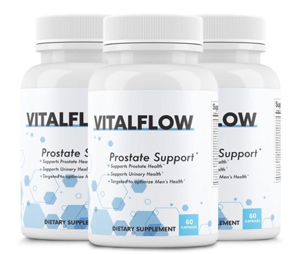 3 Bottles VitalFlow Prostate Support Formula Supplement 60 Capsules