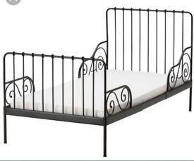 IKEA Single Minnen Bed in Black with Mattress