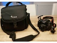 canon 80d camera and 50mm lens bag and sd card