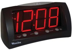 Westclox 1.8 Red LED Oversized Digital Snooze Alarm Clock (Black) 66705