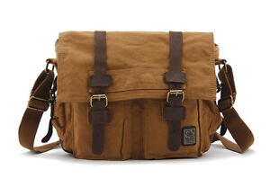 New Men Women Canvas+Leather Shoulder Bag Messenger Bag School Bag