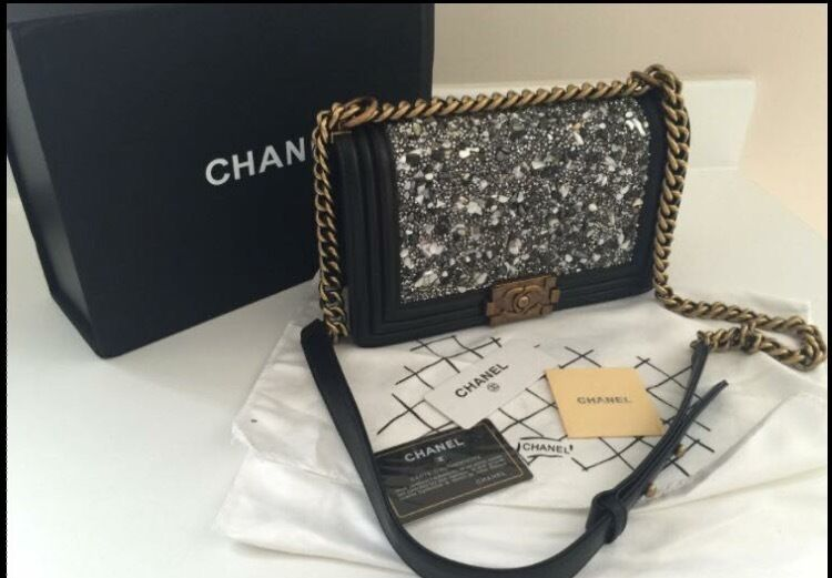Chanel Le Boy Bag Black Calfskin Leather Silver Detail Front Limited Adition