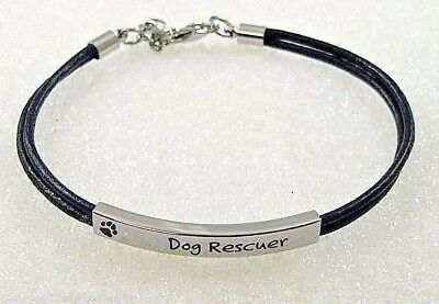 """Pet Rescue Bracelet """"Dog Rescuer"""" Black Leather Cord Stainless Steel Paw Print"""