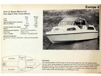 Boat Europa 4 birth 25HP outboard Road Trailer fully working project