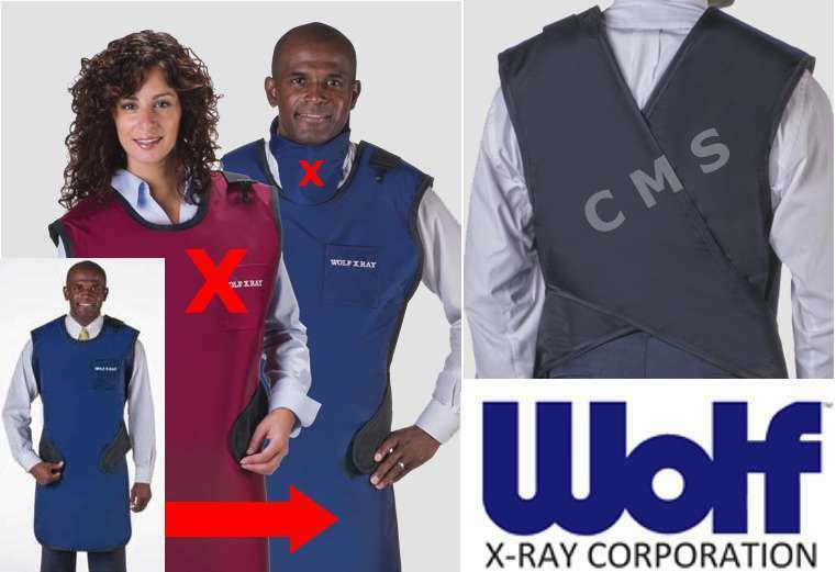 WOLF X-Ray Easy-Wrap 0.5mm Lead Coat Apron 22x37 SMALL NAVY BLUE W/ Out Collar