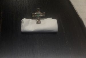 Sterling silver & Emerald Cross ring/ Handmade
