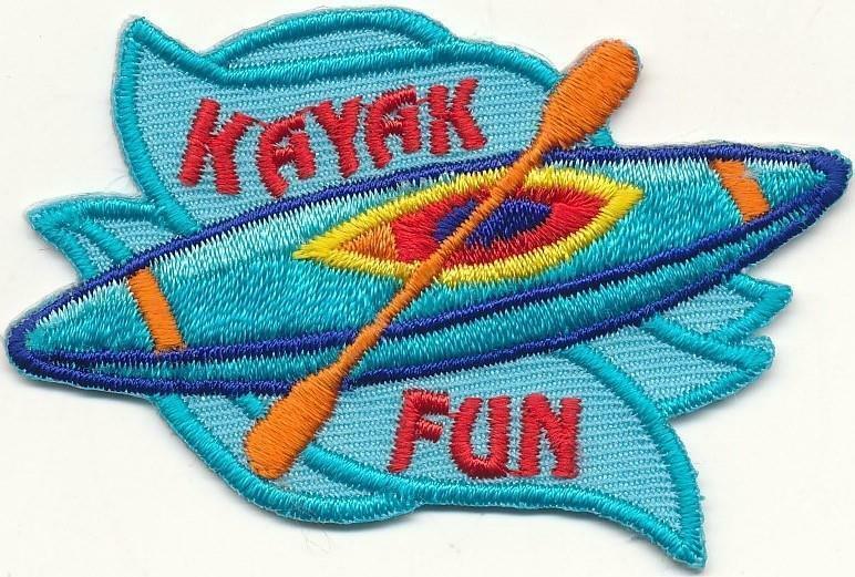 Girl Boy Cub KAYAK FUN Kayaking Patches Crests Badges SCOUT GUIDE Paddling Day