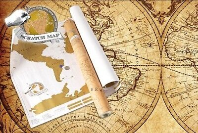 Large Size SCRATCH Off World Map Gift Where You Travel Atlas Vacation Log Poster