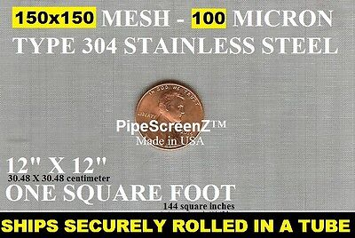 12x12 Fine 150 Mesh100 Micron Stainless Steel Sifter Filter Woven Wire Screen