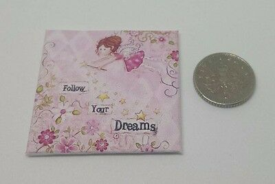 HANDMADE MINIATURE DOLLS HOUSE ACCESSORY CANVAS STYLE PICTURE PINK FAIRY