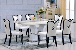 2sets de salle à manger en bois et marbre,6 chaises