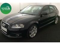 £208.22 PER MONTH BLACK 2012 AUDI A3 1.6 TDI S LINE 5 DOOR DIESEL MANUAL