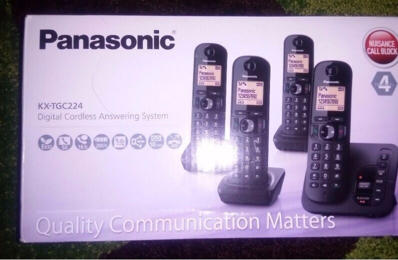 912be34a5e4 Panasonic KX-TGC224EB Cordless Phone with LCD Display - Black Pack of 4
