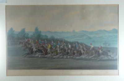 Start - Alken Summers - Aquatinta - Pferderennen Sport Pferd reiten - 1873