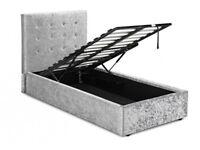 Single, Grey, crushed velvet frame, Ortho, sprung, Mattress. single bed, ottoman, storage bed,