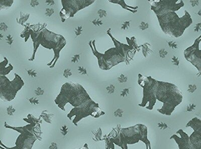 Rustic Living Blue Moose   Bear Toss Cotton Fabric By The Yd 44  Wide       A3