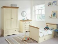 Oak furniture land nursery cot bed, wardrobe and chest of drawers