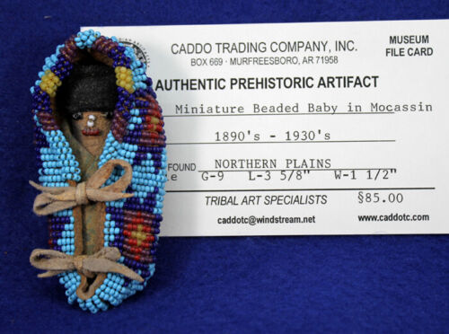 """""""Miniature Beaded Baby in Moccasin"""" Authentic Historic Artifact"""