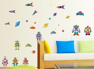 Robot Rocket Airship Outer space Art Decal Boys Removable Vinyl Stickers Nursery