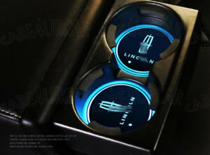 2PCS Colorful LED Car Cup Holder Pad Mat For Lincoln Auto Atmosphere Lights