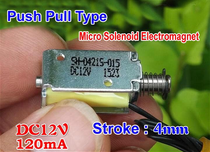 DC12V Stroke 4mm 120mA Push Pull Type Micro Solenoid Electromagnet Mini Solenoid