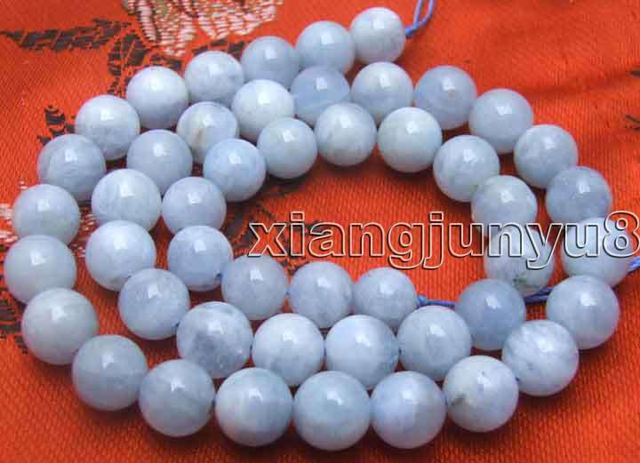 "SALE Round 8.5-9mm High quality Natural Aquamarine gemstone strand 15""-los529"